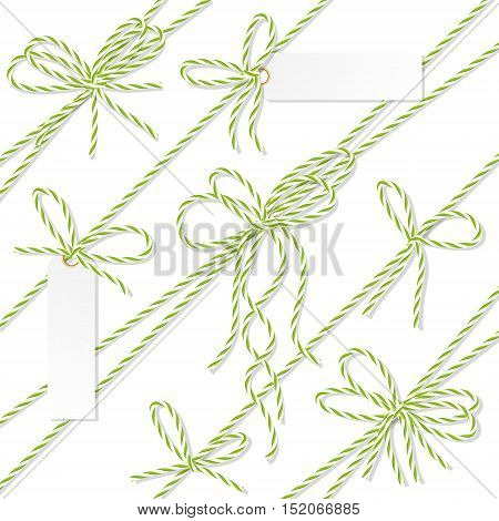 Set of green rope bakers twine bows, ribbons and tag labels on white background