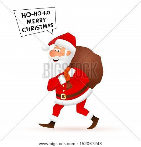 Santa Claus flat character isolated on white background. Walking funny old man carrying sack with gifts and telling Merry Christmas. Cartoon vector illustration.