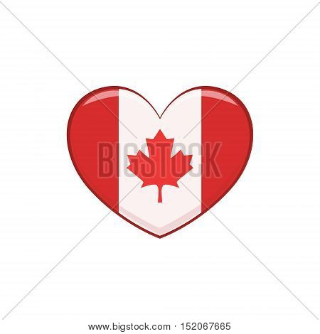 Heart Shaped Flag As A National Canadian Culture Symbol. Isolated Illustration Representing Canada Famous Signature On White Background