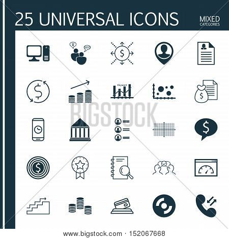 Set Of 25 Universal Editable Icons For Advertising, Business Management And Marketing Topics. Includ