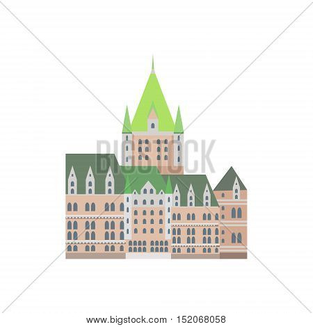 Castle Frontenac As A National Canadian Culture Symbol. Isolated Illustration Representing Canada Famous Signature On White Background