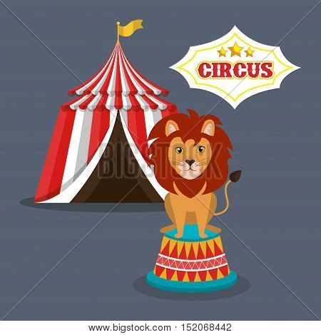 lion and red and white striped tent circus icon over gray background. colorful design. vector illustration