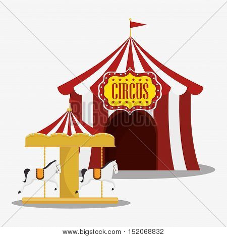 red and white striped tent and carousel circus icon. colorful design. vector illustration