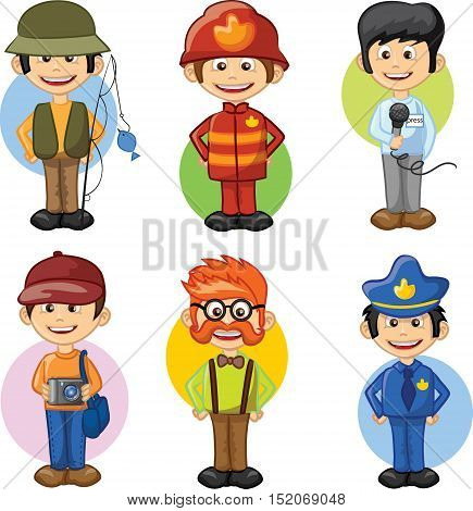 Cartoon vector characters of different professions,illustration picture