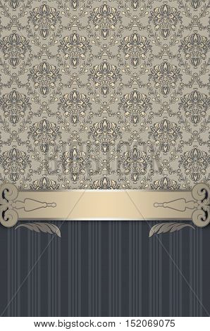Ornate background with decorative border and old-fashioned floral patterns.