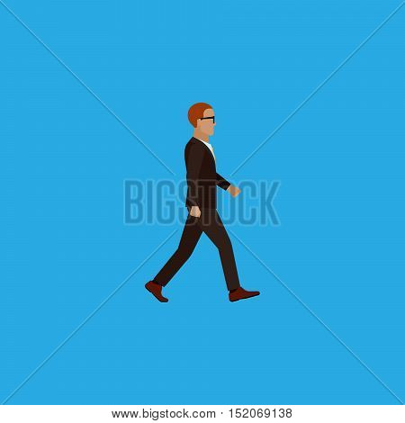 businessman. vector flat illustration of businessman or politician wearing suit and tie. walking man