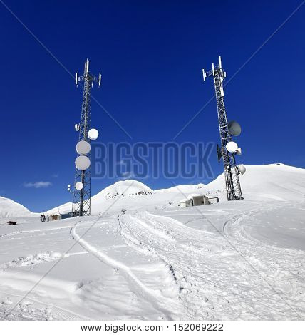 Ratrac Ski Road And Satellite Dishes At Nice Sun Day