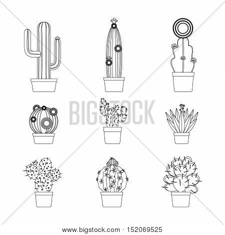 Cactus thin line art isolated icon set for coloring page design. Vector illustration