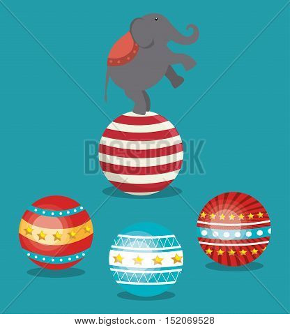 balls and circus elephant festival show over blue background. colorful design. vector illustration