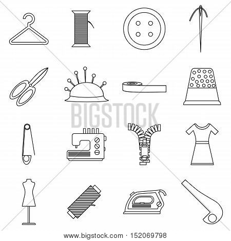 Tailor tools icons set. Outline illustration of 16 tailor tools vector icons for web