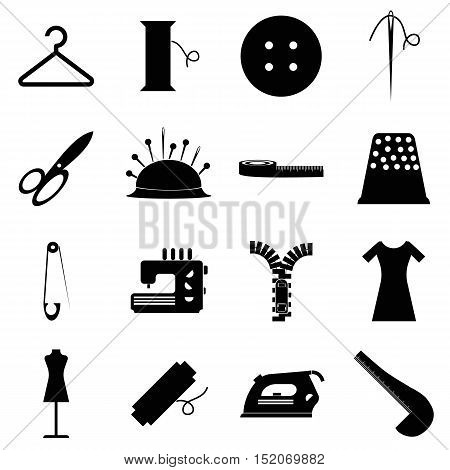 Tailor tools icons set. Simple illustration of 16 tailor tools vector icons for web