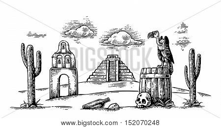 Mexican desert landscape with griffin sitting on barrel and skull cactus cloud church pyramid. For card and poster Day of the Dead Dia de los Muertos. Vector hand drawn vintage engraving. Isolated on white background