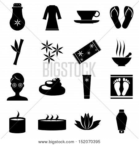 Spa icons set. Simple illustration of 16 spa vector icons for web