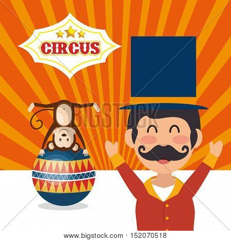 monkey and avatar happy man announcer circus festival over orange background. colorful design. vector illustration