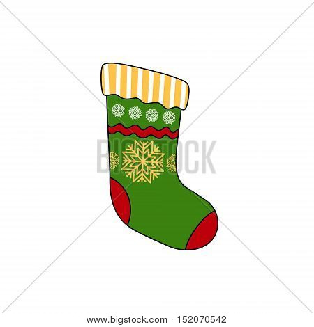 Christmas Colorful Sock Decorated Snowflakes Isolated on White Background, Christmas Decorations, Merry Christmas and Happy New Year, Vector Illustration