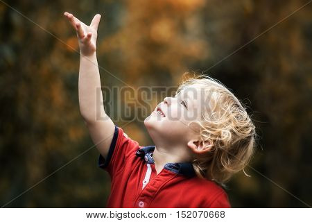 A small boy reaches for falling leaves in autumn. Two year old toddler playing outside.