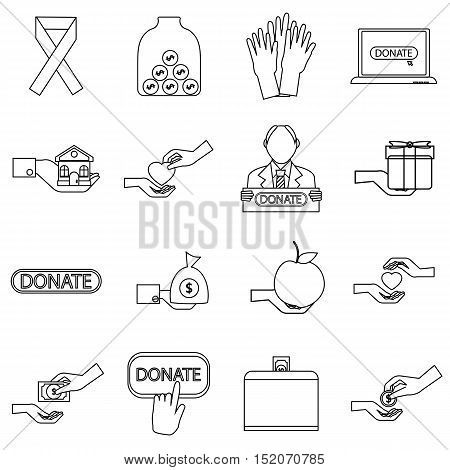 Charity icons set. Outline illustration of 16 business plan vector icons for web