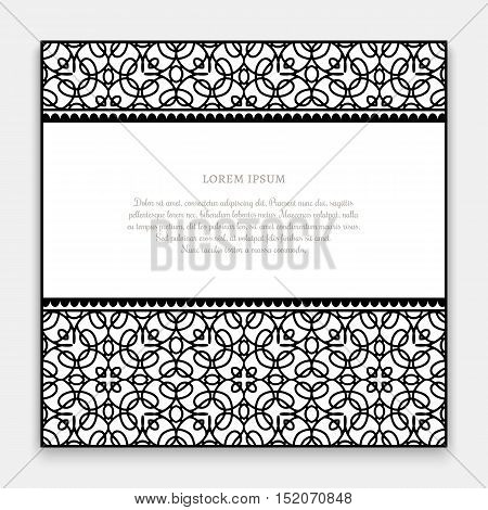 Black and white frame with ornamental border lines decorative invitation or greeting card template