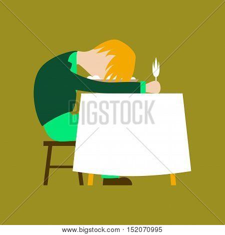 flat illustration on stylish background of man sleeping at desk