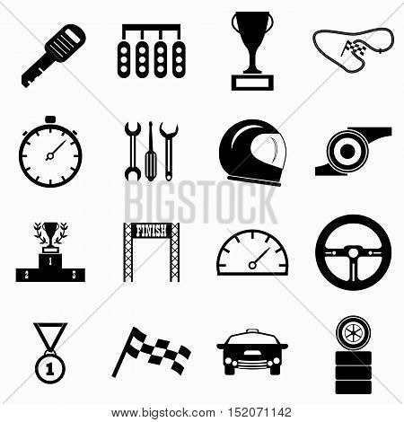 Race icons set. Simple illustration of 16 race vector icons for web