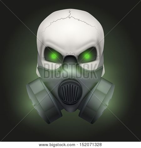 Human skull with gas mask. Chemical industry. Party poster. Vector isolated on dark background.