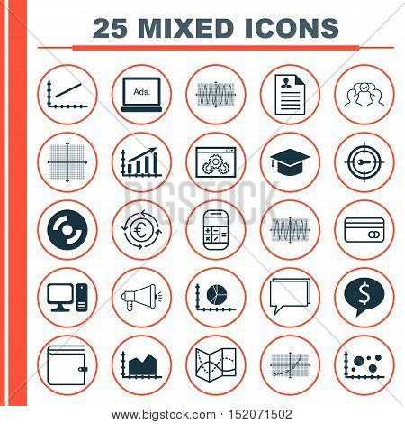 Set Of 25 Universal Editable Icons For Business Management, Advertising And Airport Topics. Includes