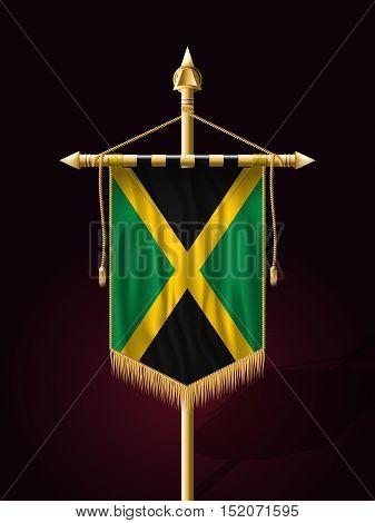 Flag Of Jamaica. Festive Banner Vertical Flag With Flagpole
