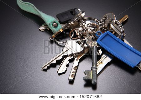 bunch of key on the black background