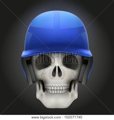 Human skull with baseball helmet. Sport mascot or baseball game symbol. Vector illustration Isolated on dark background.