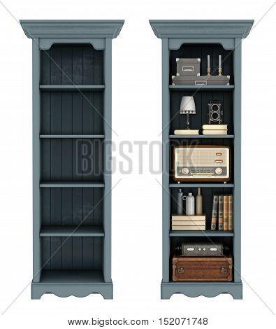 Retro Bookcase On White
