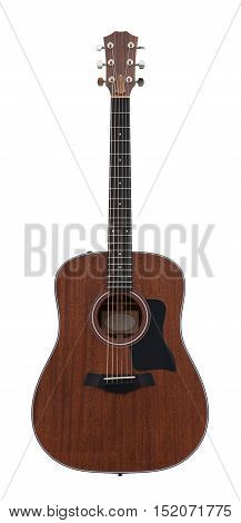 Dark Brown Wooden Classical Acoustic Guitar Isolated on a White Background