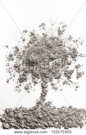 Burned tree drawing made in grey ash dirt dust