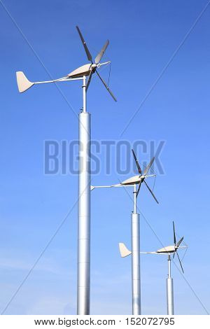 Wind Turbines Farm using as Green Power and Energy, Vertical