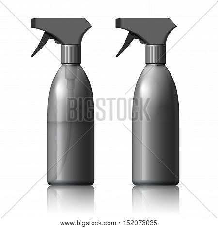 Realistic Black Plastic bottle can Spray Pistol. Object, shadow, and reflection on separate layers. Vector illustration
