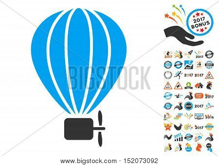 Aerostat Balloon icon with bonus 2017 new year clip art. Vector illustration style is flat iconic symbols, blue and gray colors, white background.