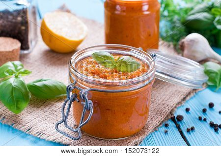 Homemade caviar of vegetables in a glass jar