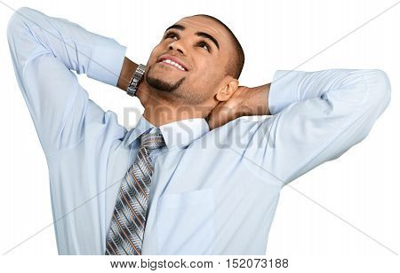 Businessman Stretching with Hands Behind Head - Isolated