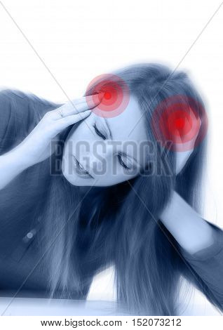 Young Beautiful Woman With Severe Headache