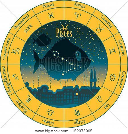 pisces on the background urban night landscape and the starry sky in circle with the signs of the zodiac