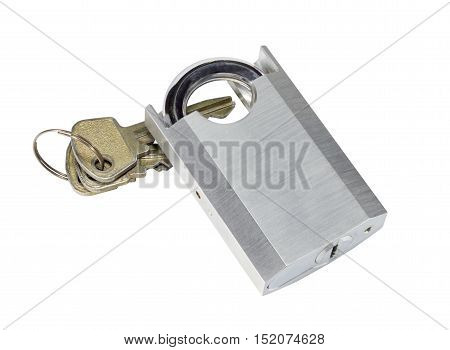 Unlocked Padlock And Key Isolated On White Background