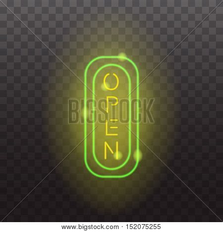 Glowing neon light sign open illuminated isolated on transparent background. Design elements Vector illustration