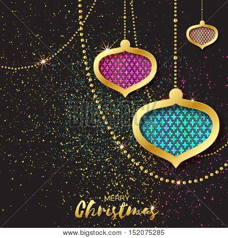 Merry Christmas Golden Pink Blue Glitter balls. Beautiful Decoration Bauble elements and garlands on back background. Happy New Year Greeting card. Vector design illustration