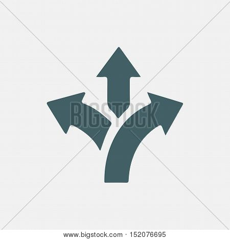 three-way direction arrow icon, road direction vector icon