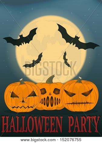party Halloween. vector illustration. the old poster. three angry pumpkins. the moon and bats. halloween party.