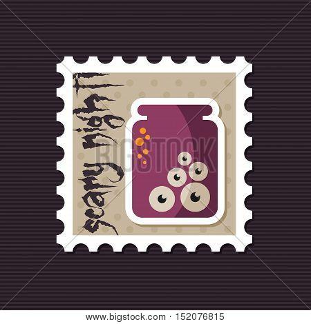 Halloween eye glass jar stamp vector illustration eps 10