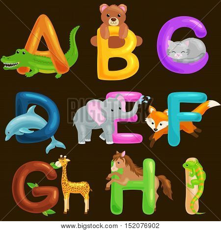 animals alphabet set for kids abc education in preschool.Cute animals letters english alphabet collection.