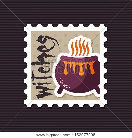 Halloween witch cauldron stamp vector illustration eps 10