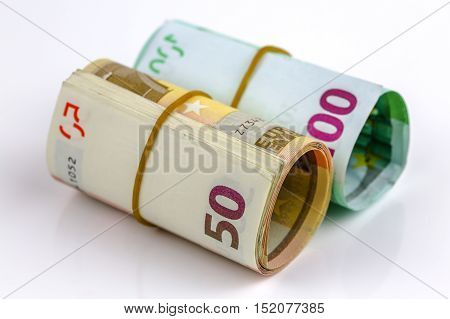 Roll Of One Hundred Euro And Fifty Banknotes