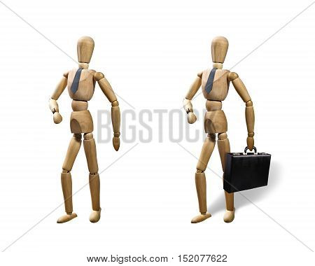 Set of two puppets isolated on white background. Puppets are presented in business style with a tie and a briefcase.