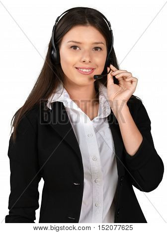 Female Call Center Employee Talking on Headset - Isolated